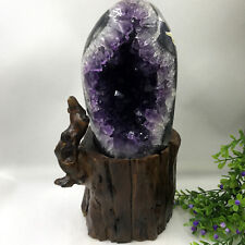 Natural Uruguay Deep Purple Crystal Quartz Amethyst Geode Clusters +Stand AA B06