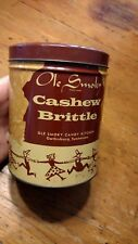 OLE SMOKY CASHEW BRITTLE TIN RUSTIC HILLBILLY FOLK DANCERS PRIMITIVE VTG EMPTY