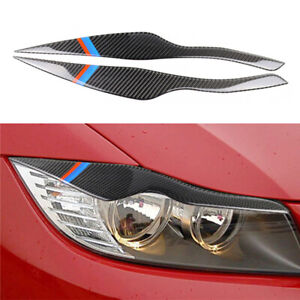 Two Pieces Of Carbon Fiber Car Headlight Eyelid Cover Decoration Sticker DIY