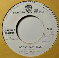 "Lorraine Ellison I Got My Baby Back DJ Northern Soul Girl Oldies 45 7"" Vinyl"