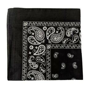 Black paisley bandana neckerchief face covering 100% cotton UK seller fast
