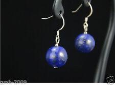 Sterling Silver Hook Dangle Earrings Vintage 12mm Blue Lapis Lazuli 925