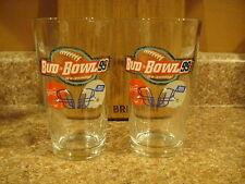 "Bud Bowl 1999 ""It's Coming"" Football Budweiser Beer Glasses Set of 2 Bud Light H"