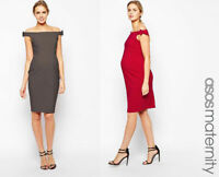 Ex ASOS Women's Maternity Evening Bodycon Midi Red & Grey Bardot Dress 14 & 16