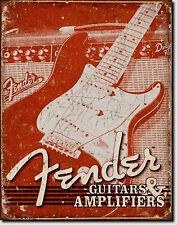 vintage Fender Stratocaster Electric Guitar Publicité guitares plaque 618