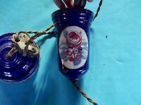 Ancien Monte en l'Air Porcelaine décor fleur Émaillée Pivoine Bleu Liserais Or
