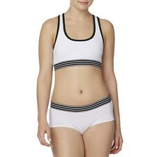 Joe Boxer Women's Juniors Crop Top Bra & Boyleg Panty Set MEDIUM White Black NEW