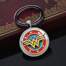 DC Superhero Keychains Wonder Woman Key Chain Glass Pendant Silver Keyring