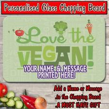 PERSONALISED I LOVE VEGAN GLASS CHOPPING BOARD HOUSE WARMING GIFT ST251