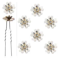 6 épingles pics cheveux chignon mariage fleur blanche cristal pétales coeur