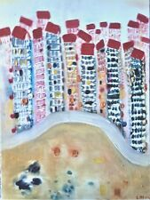 """Original abstract oil painting, cityscape, by Nalan Laluk: """"High Rise City"""""""