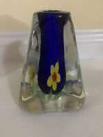 Art Glass Paperweight Style Vase Hand Blown Triangular Blue with Yellow Flowers