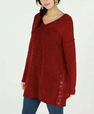 NWT Style & Co. V-Neck Long Sleeve Chenille Sweater Cranberry Size L