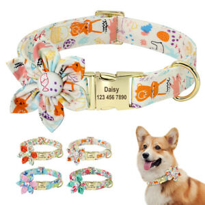 Personalized Nylon Dog Collars Flower Studded Custom Pet Dog Name Engraved S M L