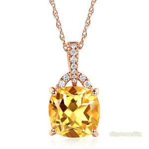 14K Rose Gold 3.5 Ct Cushion Citrine Pendant Necklace 0.1 Ct Diamond