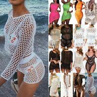 Womens Mesh Sheer Lace Crochet Bikini Cover Up Swimwear Bathing Suit Beach Dress