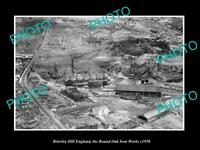 OLD LARGE HISTORIC PHOTO BRIERLEY HILL ENGLAND AERIAL VIEW R/O IRON WORKS c1950