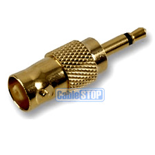3.5mm Mono Jack Male Plug to Female BNC Socket CCTV Connector Adapter Gold