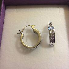 A22 Sim White Diamond, Silver (White Gold GF) Creole Hoop Earrings BOXED Plum UK