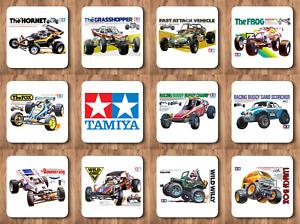4 Tamiya coasters, with Retro box art, Frog, Sand Scorcher, Grasshopper etc etc