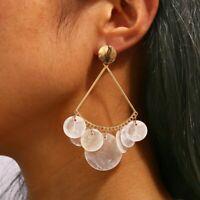White Shell Circle Geometric Colorful Drop Dangle Earrings for Women Statement