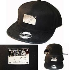 Yea Nice Black Metallic Silver Front Badge Snapback Cap Patent Leather Visor Hat