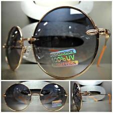 42fb02e3adb3 CLASSIC VINTAGE RETRO Style SUN GLASSES Round Gold Orange Frame Smoke Brown  Lens