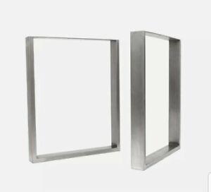 "2x Industrial Box Section Table Legs + FREE Floor Protectors, Screws . 16"""
