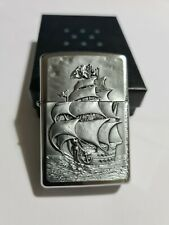 Zippo Windproof Collectible Brushed Chrome Lighter Pirate Ship 2016 NEW