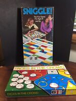 FUN Vintage Board Game LOT Sniggle + Faces in the Crowd.  RARE!  **Complete**