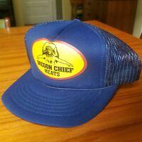 Vintage 90's Oregon Chief Meats Trucker Hat Cap Foam Snapback Blue Indian Chief