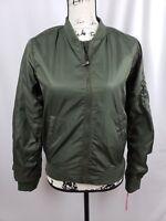 Xhilaration Bomber Jacket Zipper Pocket Military Green Women's Size Small New
