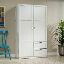 Modern Wardrobe Armoire Cabinet 2 Door 2 Drawer 2 Shelf Storage Organizer White
