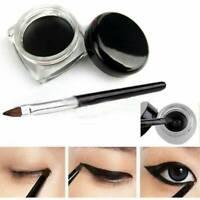 UK Waterproof Black Eye Liner Eyeliner Shadow Gel Makeup Cosmetic + Brush Kit