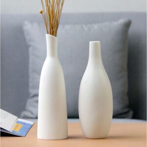 Flower Vase Design Swan Neck Planter Pot Home Office Table Decor White Ceramic
