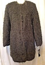 ~NWT!~VIA SPIGA REVERSIBLE CURLY FAKE FUR COAT~LIGHTWEIGHT!~GRAY~S / SMALL~