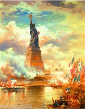 STATUE OF LIBERTY VINTAGE TRAVEL POSTER 1890 Rare New