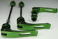 MTB or Road Bike Bicycle Quick Release Axle Skewers & Seat Binder Set - GREEN