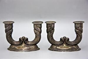 Pair Antique German Art Deco Silverplat Candlesticks 1930 Feinsilberauflage Hoka