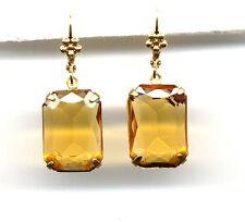 BEAUTIFUL AMBER TOPAZ emerald-cut crystal EARRINGS 14K Gold gp *Vintage Czech