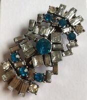 Carino Geometrico Design Argento E Blu Cristallo S Metallo Fermaglio per Capelli