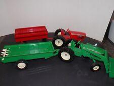 Ertl Toy Green Farm Tractors & Wagon Made In Dyersville, Iowa set of 2 w trailer