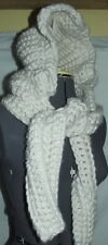 Hand knit large winter white bonnet hat with long ear flaps crochet hoodie snood