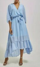 Ladies Baby Blue Chiffon Frill Tie Waist Wrap Over Striped Maxi Dress