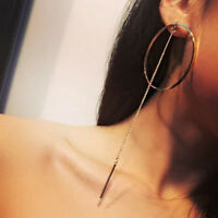 Women Big Circle Long Chain Tassel Drop Dangle Ear Stud Fashion Earrings Jewelry
