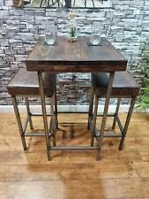 More details for new bespoke hand crafted solid wood poseur table stool set pub bar bistro