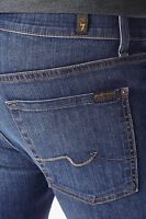 NWT 7 FOR ALL MANKIND Sz36 SLIMMY SLIM STRAIGHT LEG JEANS MEDIUM BLUE HUVW $215.
