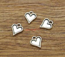 50 Heart Love Charm Valentine DIY Metal Bezel Charm Antique Silver 10x12 1906