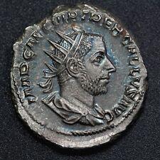 252 A.D. Emperor Trebonianus Gallus, Ancient Roman Silver AR Antoninianus, Toned