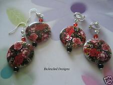 Round Shell Rose Red Black Floral Pearl Crystal Dangle Earrings Pierced Clip on
